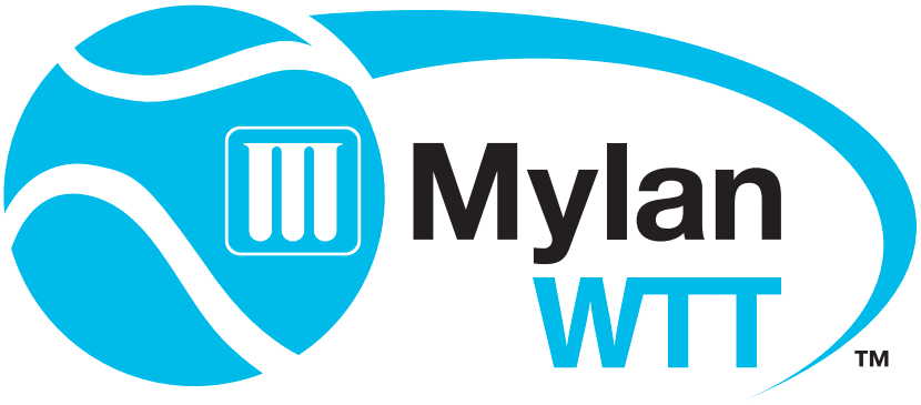 World TeamTennis Logo Primary Logo (2013-Pres) - Mylan World TeamTennis Logo -- A blue tennis ball with the Mylan pharmaceuticals company logo on it flying past the league name in blue and black SportsLogos.Net