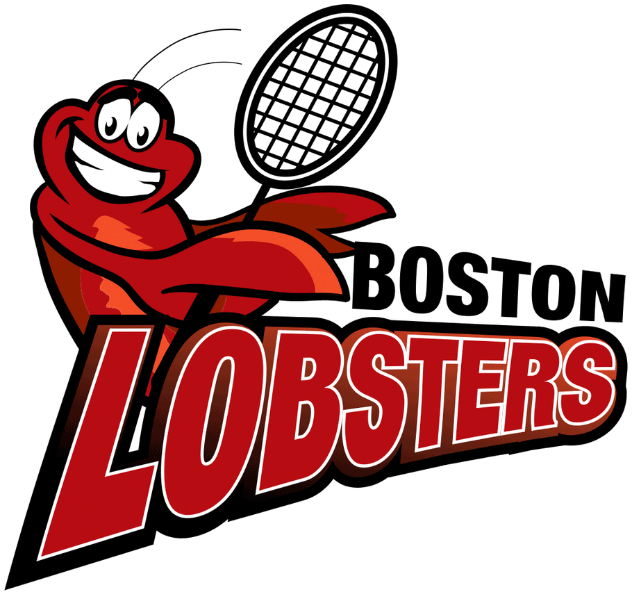Boston Lobsters Logo Primary Logo (2005-Pres) - A red lobster holding a tennis racket above team wordmark SportsLogos.Net