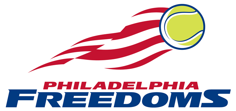 Philadelphia Freedoms Logo Primary Logo (2013-Pres) - A tennis ball flying with red and white stripes, like those found on the American flag, flying behind it. Team name below in red and blue SportsLogos.Net