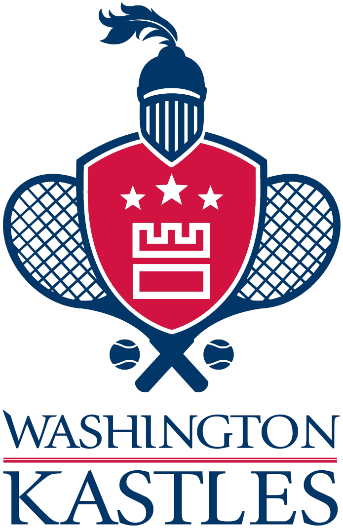 Washington Kastles Logo Primary Logo (2009-Pres) - A red shield with a white castle design and three stars. A knight's helmet on top and two crossed tennis rackets behind SportsLogos.Net