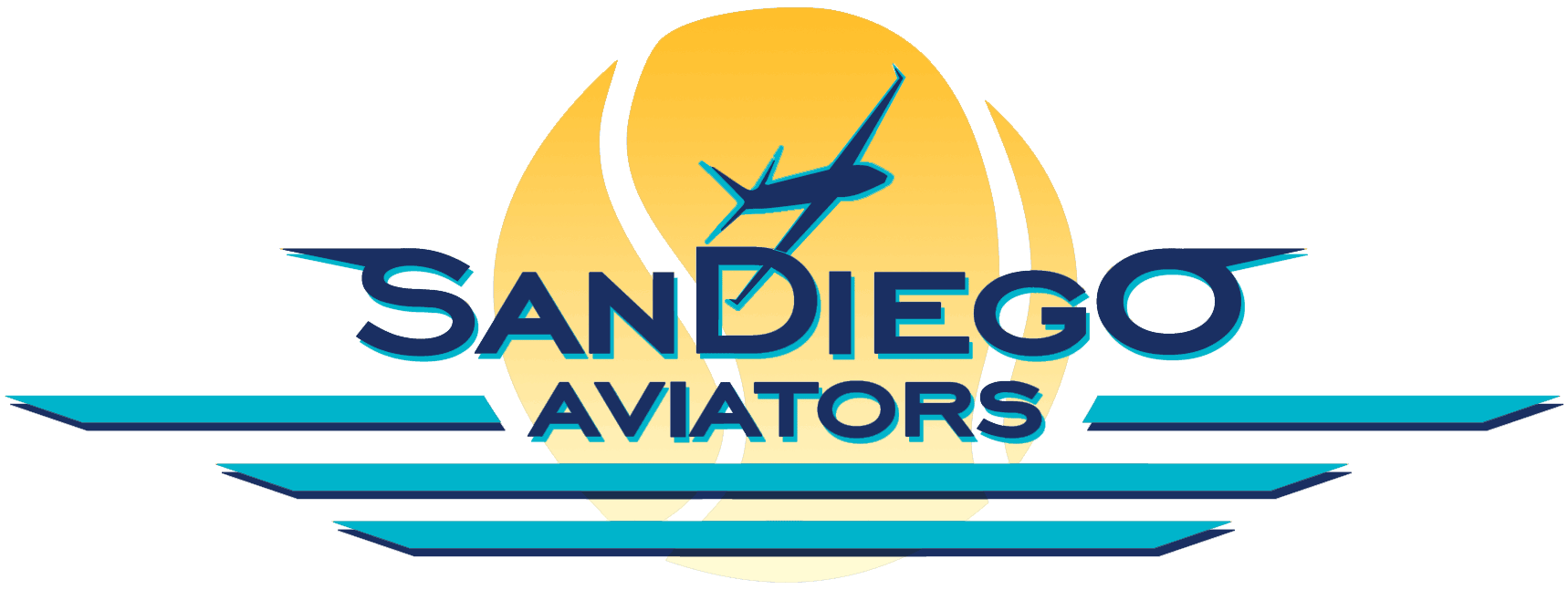 San Diego Aviators Logo Primary Logo (2014-Pres) - An airplane flying in front of a tennis ball sunset SportsLogos.Net