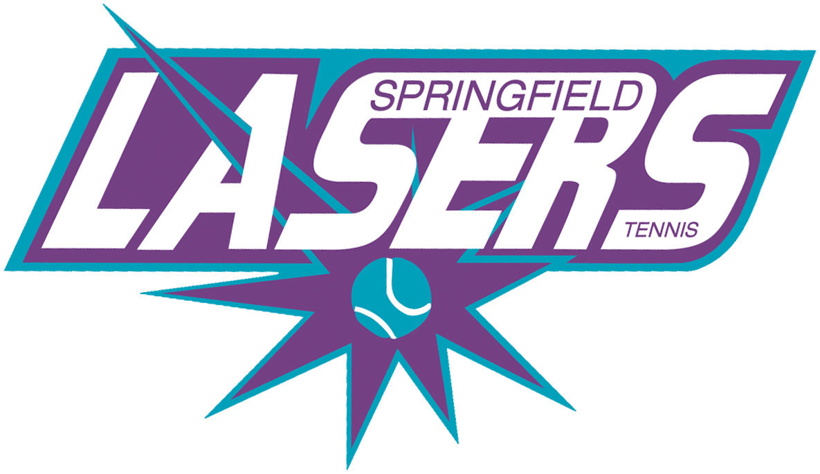 Springfield Lasers Logo Primary Logo (2003-Pres) - A teal tennis ball with a purple starburst around it, team name above SportsLogos.Net