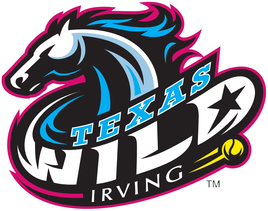Texas Wild Logo Primary Logo (2013-Pres) - A white horse with blue mane outlined in pink, team name and tennis ball below SportsLogos.Net