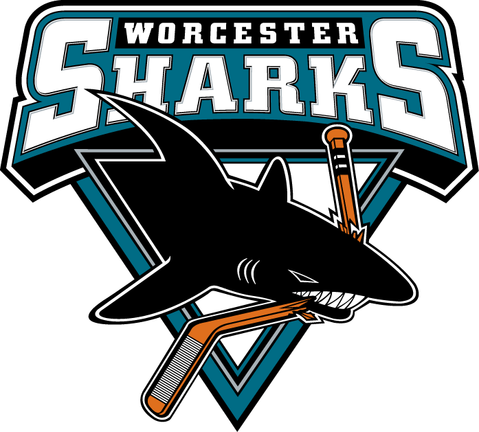 Worcester Sharks Logo Primary Logo (2006/07-2014/15) - A shark chomping a hockey stick inside a triangle with team script above SportsLogos.Net