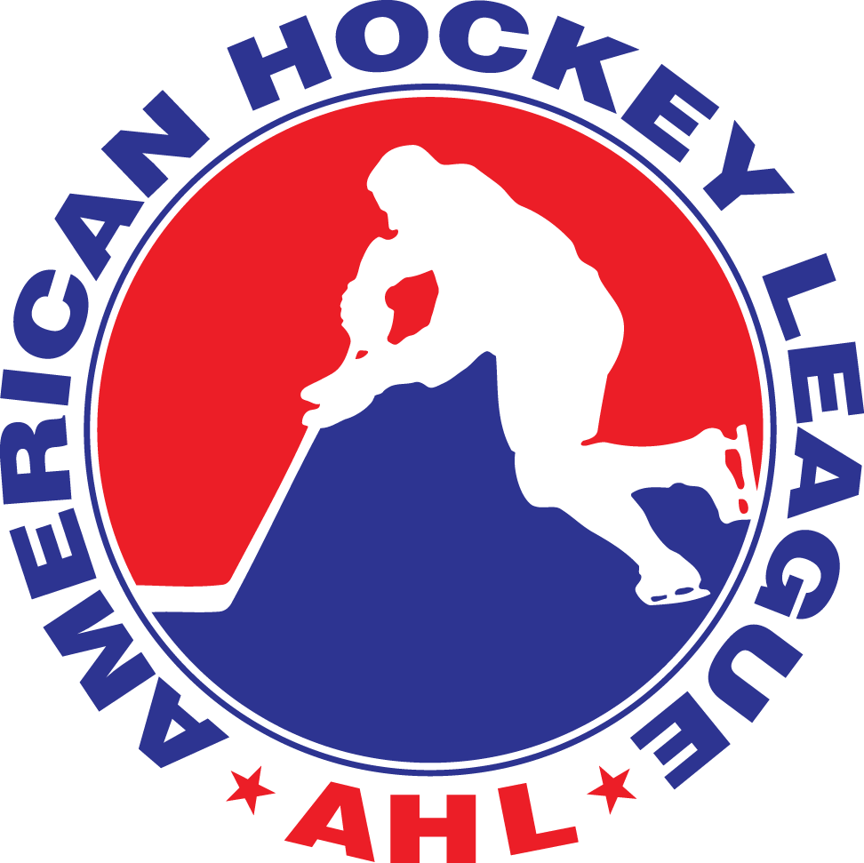 American Hockey League Logo Primary Logo (1970/71-Pres) - A hockey player skating on a red and white circle with AHL American Hockey League written around in red and blue SportsLogos.Net
