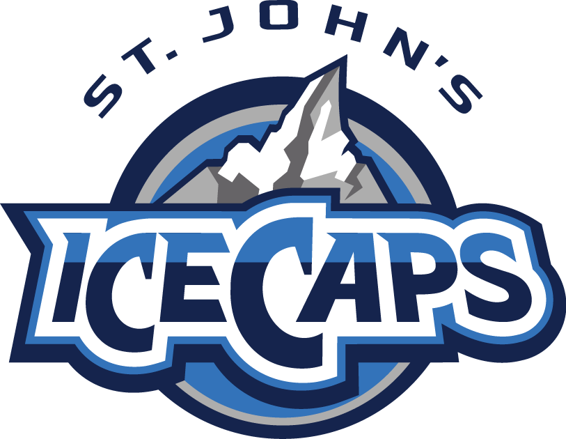 St. Johns IceCaps Logo Primary Logo (2011/12-2014/15) - An icy mountain peak (ice cap) with the shape of Newfoundland and Labrador forming as the ice cap, on a double-blue circle with team name below and city above SportsLogos.Net