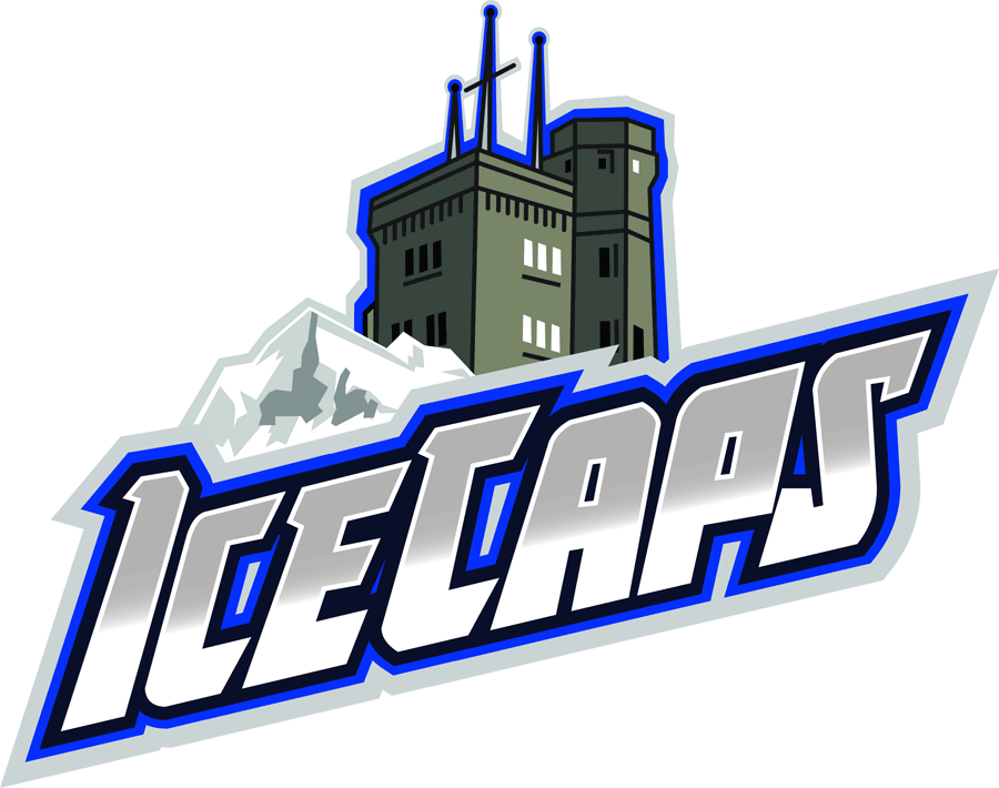 St. Johns IceCaps Logo Alternate Logo (2013/14-2014/15) - Cabot Tower in front of an iceberg, inside the iceberg is a map of Newfoundland and Labrador. IceCaps written diagonally in a silver-to-white gradiant SportsLogos.Net