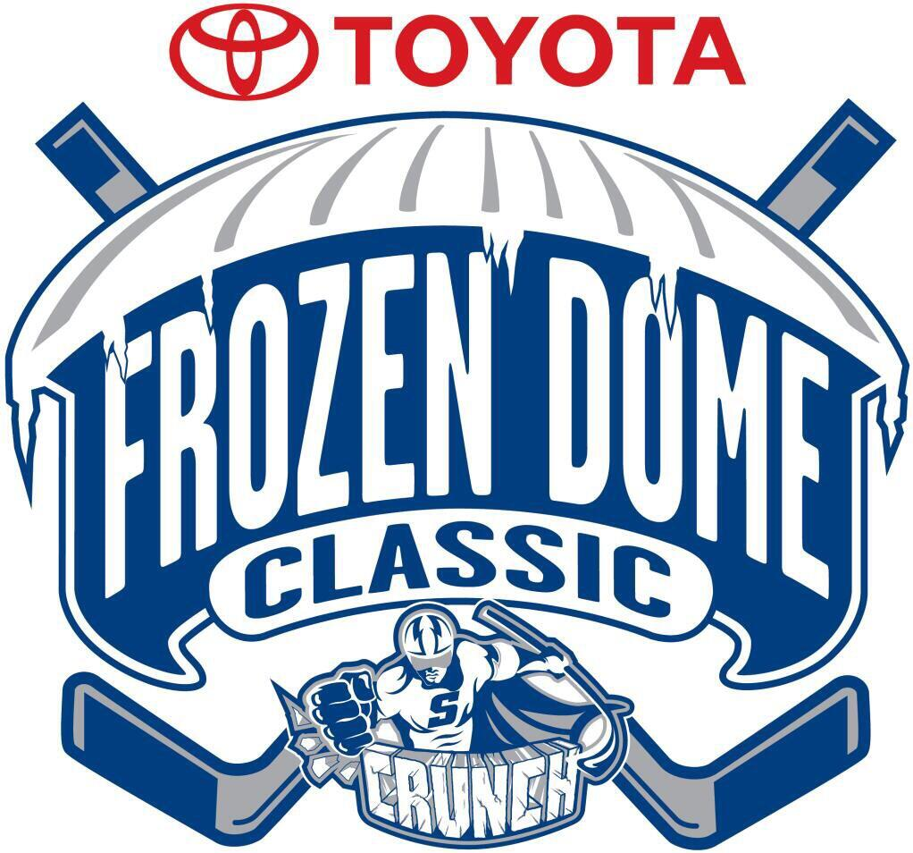 AHL Outdoor Classic Logo Primary Logo (2014/15) - Toyota Frozen Dome Classic at the Carrier Dome in Syracuse, NY was played on November 22, 2014. The Syracuse Crunch defeated the Utica Comets 2-1 infront of 30,175 fans. SportsLogos.Net