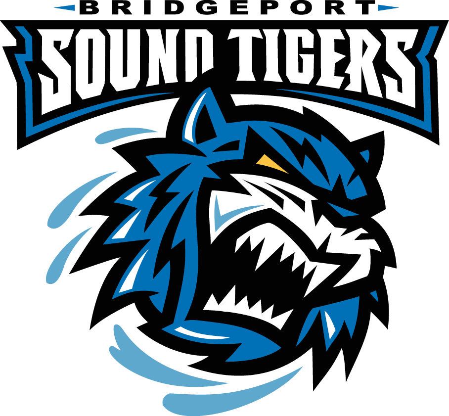Bridgeport Sound Tigers Logo Primary Logo (2001/02-2004/05) - An angry blue tiger under team name on a black banner SportsLogos.Net