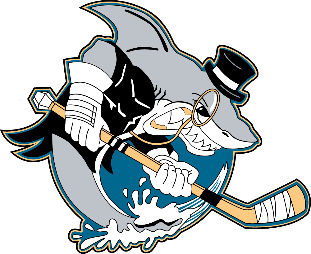 Cleveland Barons Logo Primary Logo (2001/02-2005/06) - A monacle wearing shark with a hockey stick SportsLogos.Net