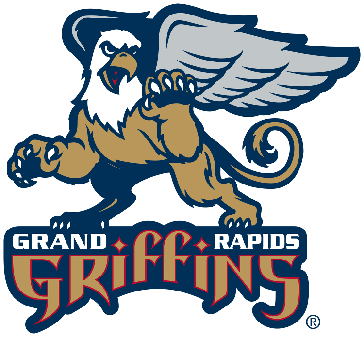 Grand Rapids Griffins Logo Primary Logo (2002/03-2014/15) - A golden griffin standing on the team script SportsLogos.Net