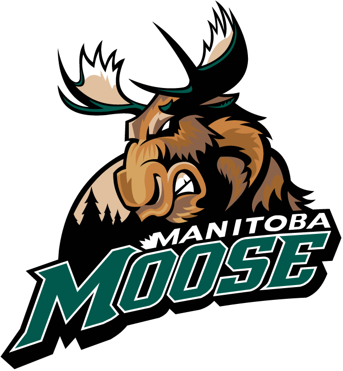 Manitoba Moose Logo Primary Logo (2005/06-2010/11) - A moose snarling in front of the moon and a forest SportsLogos.Net