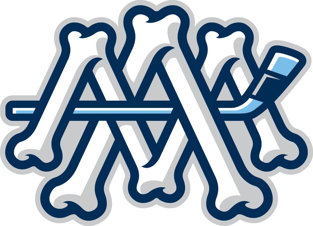 Milwaukee Admirals Logo Alternate Logo (2015/16-Pres) - Interlocking MA in skeleton bones with a hockey stick SportsLogos.Net