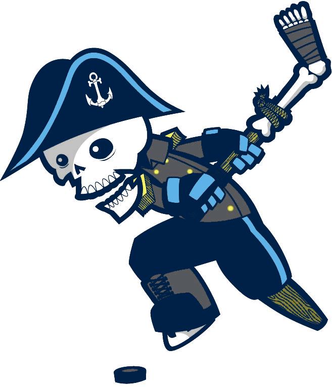 Milwaukee Admirals Logo Alternate Logo (2015/16-Pres) - Old skeleton logo with black replaced with navy blue SportsLogos.Net
