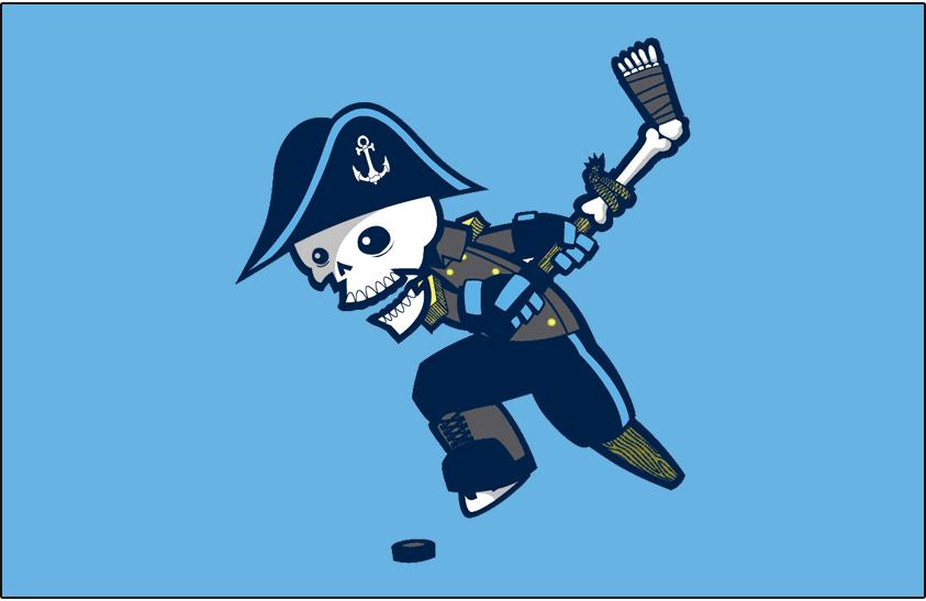 Milwaukee Admirals Logo Jersey Logo (2015/16-Pres) - Old skeleton logo with black replaced with navy blue on light blue, worn on Admirals alternate uniform SportsLogos.Net