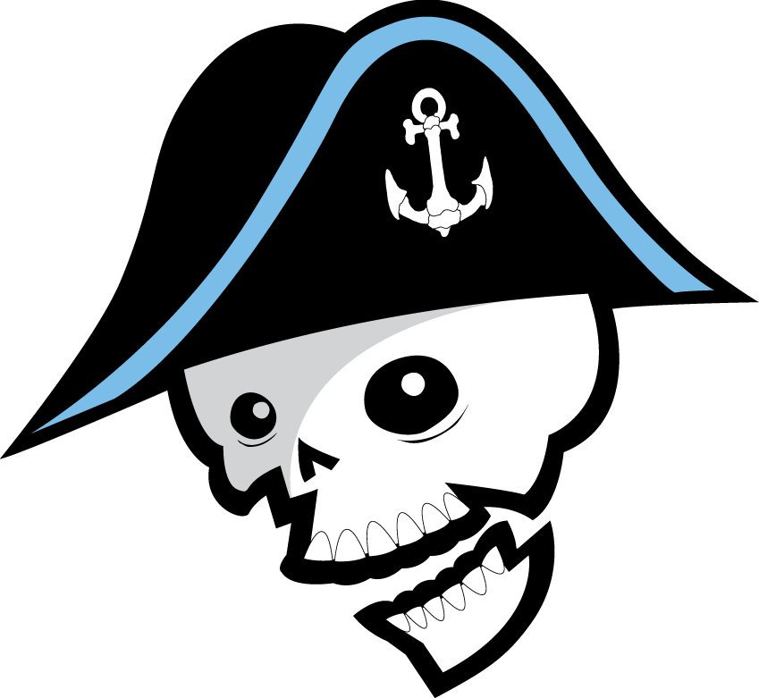 Milwaukee Admirals Logo Alternate Logo (2006/07-2014/15) - A skull wearing a pirate hat with an anchor on it SportsLogos.Net