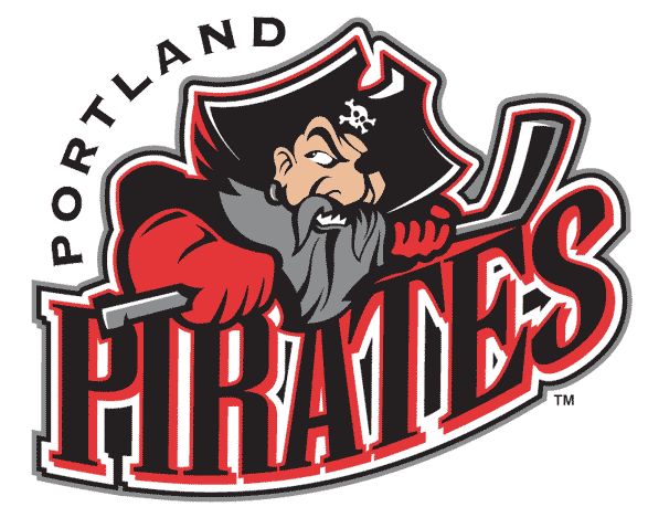 Portland Pirates Logo Primary Logo (2002/03-2014/15) - A prirate with a hockey stick over team name in red and black SportsLogos.Net
