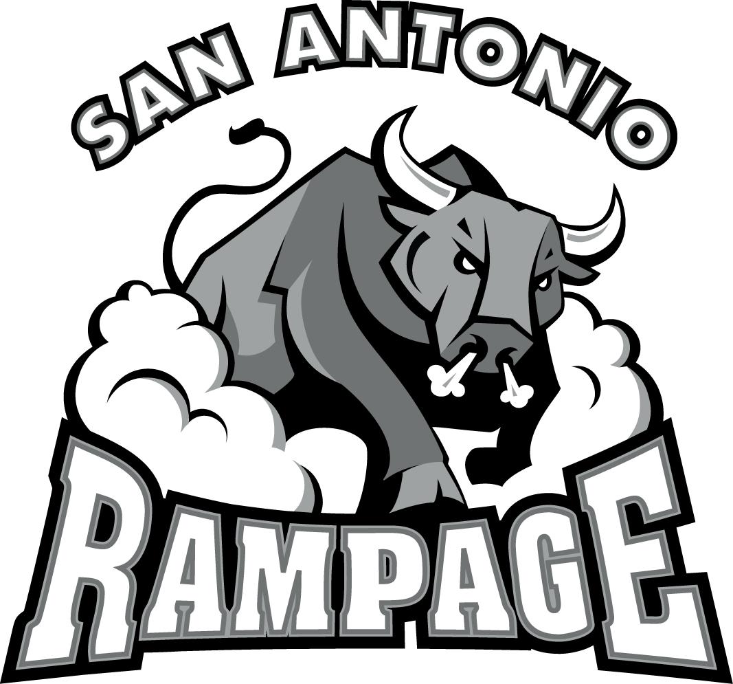 San Antonio Rampage Logo Primary Logo (2006/07-2019/20) - A Silver bull blowing smoke through his nose thundering over wordmark.  SportsLogos.Net