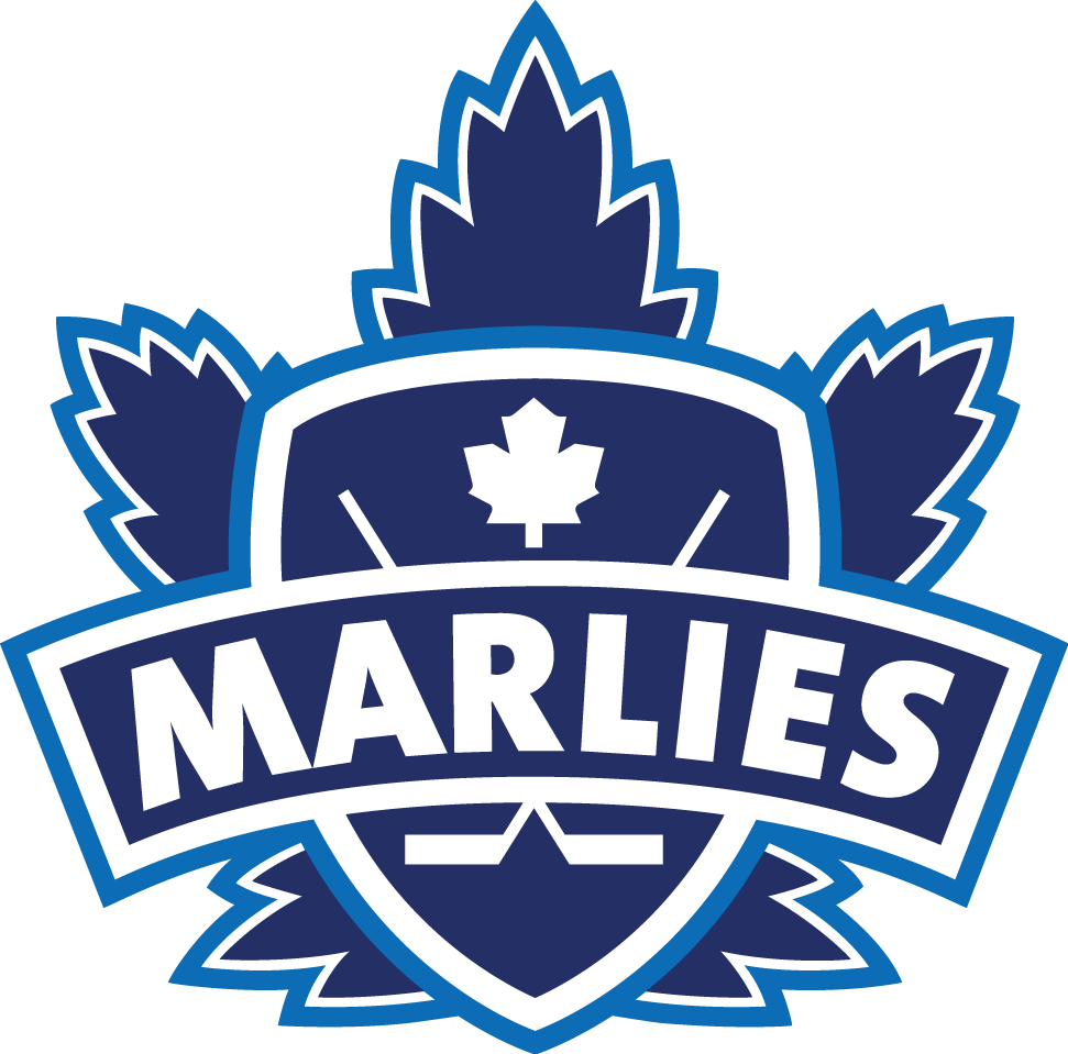 Toronto Marlies Logo Primary Logo (2005/06-2015/16) - An old style Maple Leaf with a shield and banner on it SportsLogos.Net