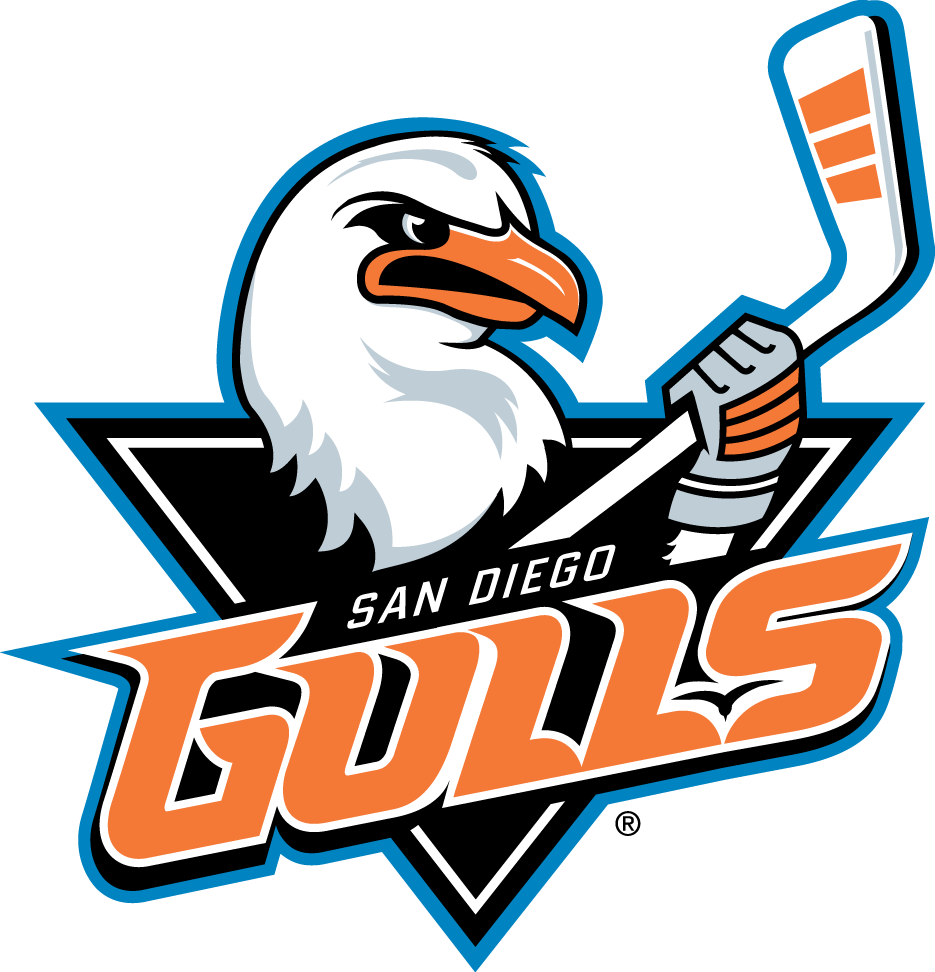 San Diego Gulls Logo Primary Logo (2015/16-Pres) - Very subtle change to Gulls primary logo after unveil, the GULLS wordmark switches from two-toned orange to single shade SportsLogos.Net