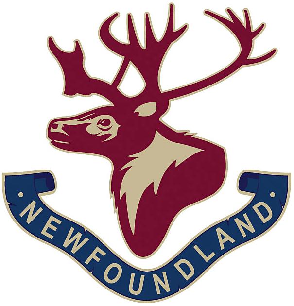 St. Johns IceCaps Logo Special Event Logo (2016/17) - Royal Newfoundland Regiment tribute logo, a caribou head with a banner below reading Newfoundland SportsLogos.Net