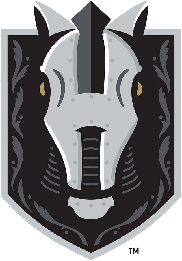 Henderson Silver Knights Logo Primary Logo (2020/21-Pres) - A horse wearing silver armour in the shape of an H on a silver and black shield SportsLogos.Net