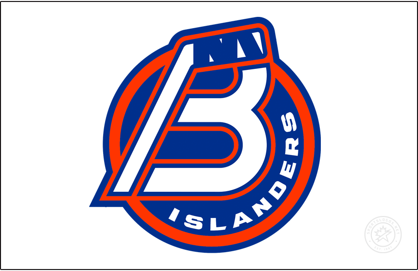 Bridgeport Islanders Logo Jersey Logo (2021/22-Pres) - For the 2021-22 AHL season, the former Sound Tigers re-branded as the Bridgeport Islanders to match their NHL affiliate from Long Island. The new logo consisted of a combination B and a hockey stick on a blue and orange circle with ISLANDERS arched on the right, a NY logo was added within the tape of the hockey stick as a tribute to the New York Islanders logo. The logo shown here on white, as it appears on the front of their home white uniform. SportsLogos.Net
