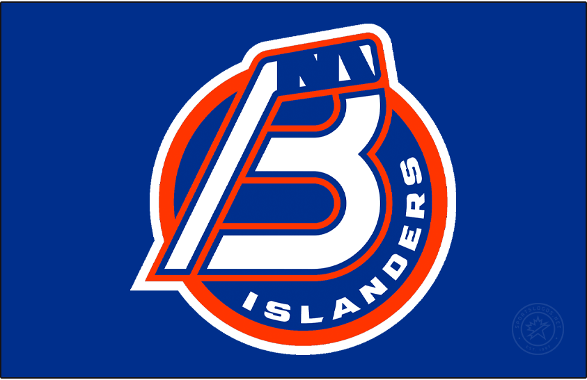 Bridgeport Islanders Logo Jersey Logo (2021/22-Pres) - For the 2021-22 AHL season, the former Sound Tigers re-branded as the Bridgeport Islanders to match their NHL affiliate from Long Island. The new logo consisted of a combination B and a hockey stick on a blue and orange circle with ISLANDERS arched on the right, a NY logo was added within the tape of the hockey stick as a tribute to the New York Islanders logo. The logo shown here on blue, as it appears on the front of their road blue uniform. SportsLogos.Net