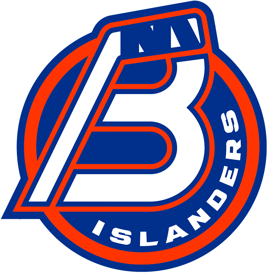Bridgeport Islanders Logo Primary Logo (2021/22-Pres) - For the 2021-22 AHL season, the former Sound Tigers re-branded as the Bridgeport Islanders to match their NHL affiliate from Long Island. The new logo consisted of a combination B and a hockey stick on a blue and orange circle with ISLANDERS arched on the right, a NY logo was added within the tape of the hockey stick as a tribute to the New York Islanders logo. SportsLogos.Net