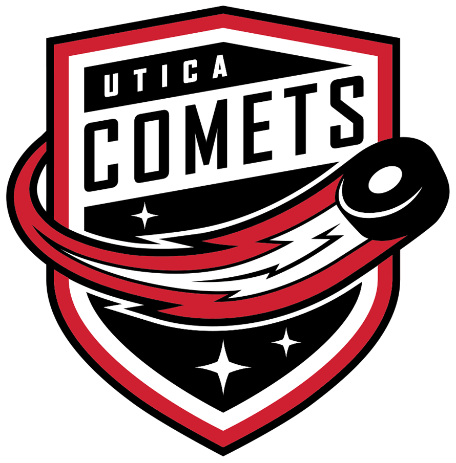 Utica Comets Logo Primary Logo (2021/22-Pres) - After the Vancouver Canucks relocated the original Comets to Abbotsford, the New Jersey Devils stepped in and shifted the Binghamton Devils to fill the void. The logo is identical to what the original Comets used from 2013-21 simply recoloured to match the Devils red and black colour scheme. SportsLogos.Net