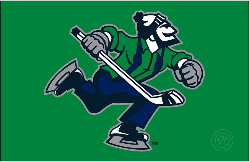 Abbotsford Canucks Logo Primary Dark Logo (2021/22-Pres) - The Abbotsford Canucks original logo is a straight-up reuse of the NHL Vancouver Canucks tertiary logo featuring Johnny Canuck wearing a toque and carrying a hockey stick in green and two shades of blue.  SportsLogos.Net