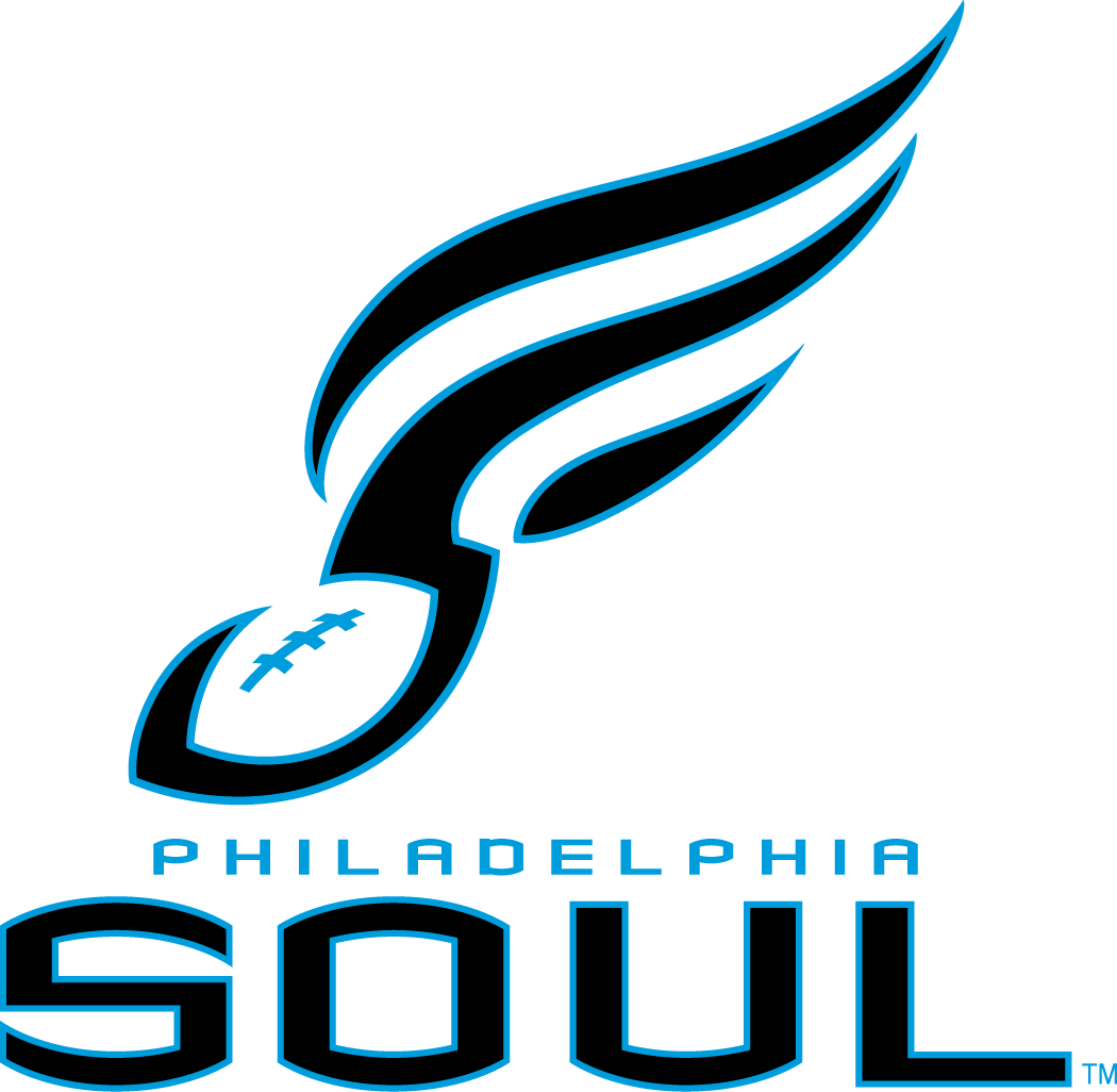 Philadelphia Soul Logo Primary Logo (2004-Pres) - A navy blue and light blue football with streaks from it forming a musical note, team script below SportsLogos.Net