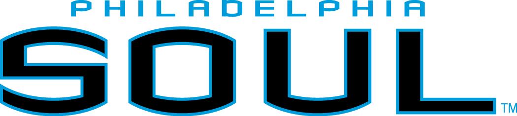 Philadelphia Soul Logo Wordmark Logo (2004-Pres) - Philadelphia in light blue above Soul in navy blue SportsLogos.Net