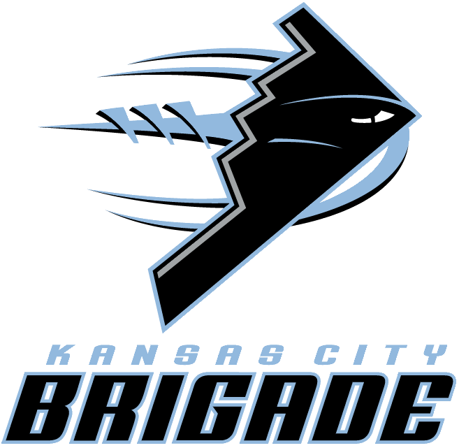 Kansas City Brigade Logo Primary Logo (2006-2010) - Black stealth bomber on stylized Carolina blue football SportsLogos.Net