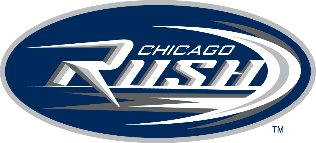 Chicago Rush Logo Primary Logo (2001-2012) - Streaking Rush in silver on blue oval SportsLogos.Net