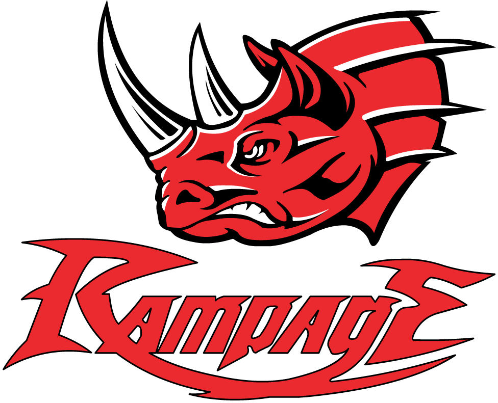 Grand Rapids Rampage Logo Primary Logo (1998-2004) - Angry red rhinoceros with white and black highlights over script SportsLogos.Net