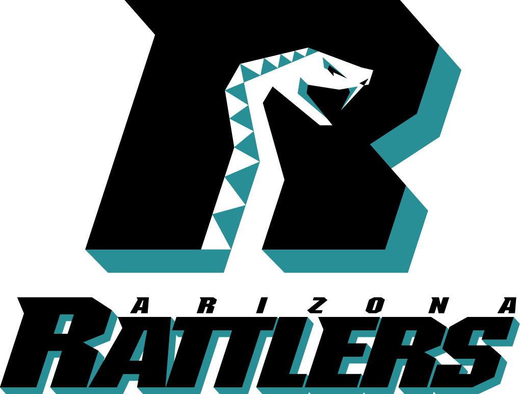 Arizona Rattlers Logo Primary Logo (1992-2011) - White and teal snake in teal and black R SportsLogos.Net