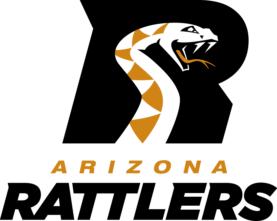Arizona Rattlers Logo Primary Logo (2012-2016) - A snake with gold diamond patterns forming the negative white space within a black 'R', team name below in gold and black italics SportsLogos.Net