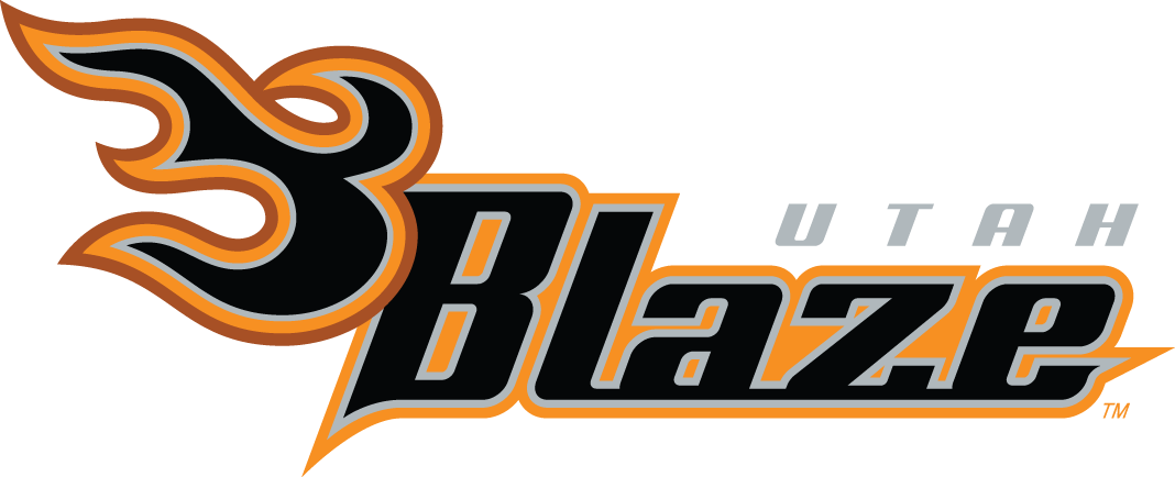 Utah Blaze Logo Primary Logo (2006-2013) - Grey, orange, and red flames next to the team name in italics SportsLogos.Net