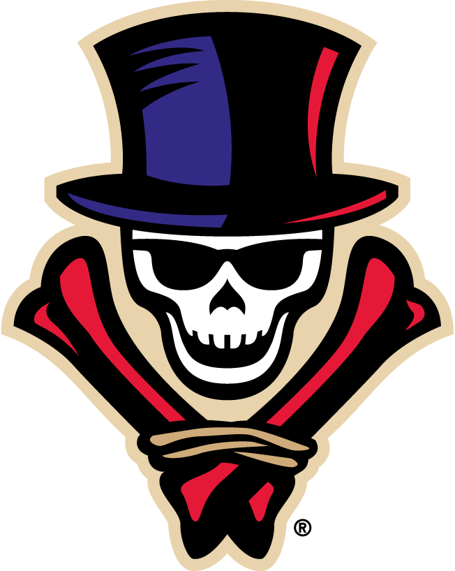 New Orleans VooDoo Logo Primary Logo (2011-2015) - A skull wearing sunglasses and a black, purple and red top hat and black and red crossed bones below SportsLogos.Net