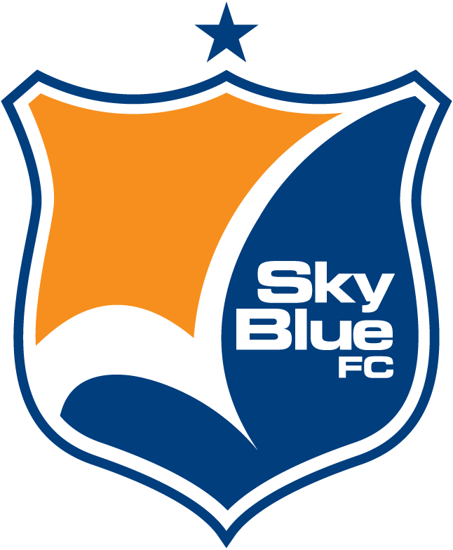 Sky Blue FC Logo Primary Logo (2013-2020) - The Sky Blue FC crest is an orange and blue shield with a white checkmark-styled shape in the middle of it, Sky Blue FC is written on the right with a single blue star above. SportsLogos.Net