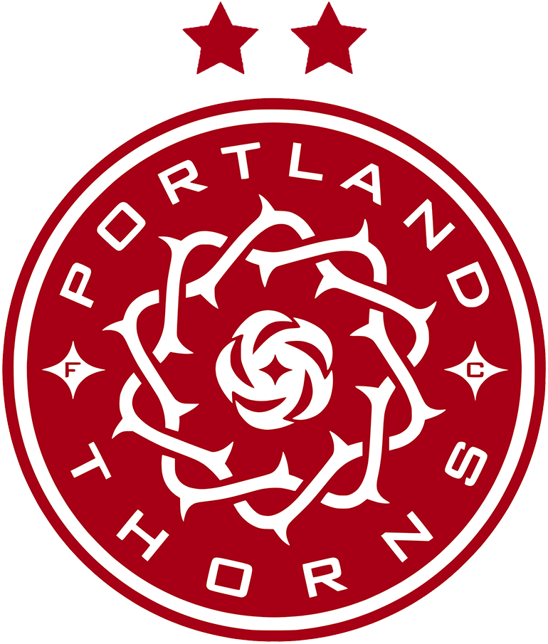 Portland Thorns FC Logo Primary Logo (2018-Pres) - The Portland Thorns FC updated the colour scheme of their logo in 2018, the design of a wreath of thorns surrounds a single rose with three hypocycloids remained the same however the colours were simplfied to just red and white. SportsLogos.Net