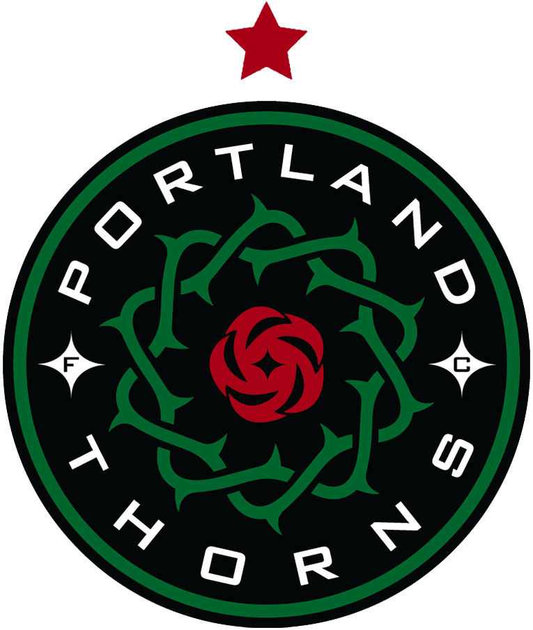 Portland Thorns FC Logo Primary Logo (2014-2017) - The Portland Thorns FC original logo showing a wreath of thorns surrounding a single rose with three hypocycloids in a black, green, and red colour scheme was updated to add a single red star following the 2013 NWSL season to note their championship that year. SportsLogos.Net