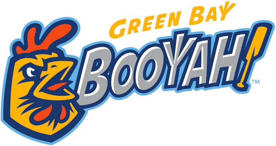 Green Bay Booyah Logo Primary Logo (2019-Pres) - A yellow, blue, and red chicken next to BOOYAH! in silver with a chicken foot as the Y and an oar as an exclamation point SportsLogos.Net