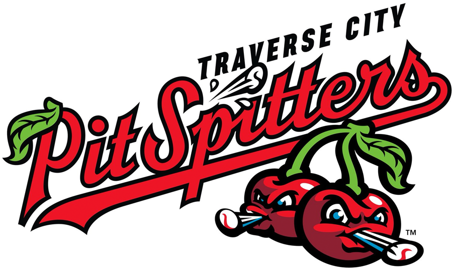 Traverse City Pit Spitters Logo Primary Logo (2019-Pres) - Two cherries spitting baseballs under the team name scripted in red, black, and green SportsLogos.Net