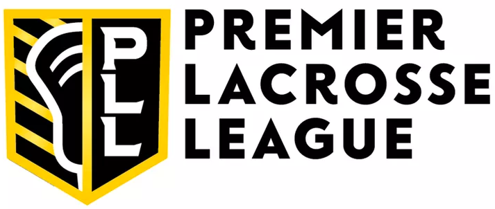 Premier Lacrosse League Logo Primary Logo (2019-Pres) - A shield with half a lacrosse stick on one side and PLL on the other in black and yellow, league name to the right SportsLogos.Net