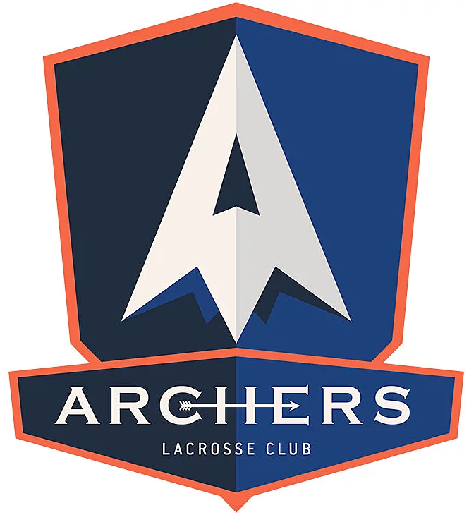Archers LC Logo Primary Logo (2019-Pres) - A white arrowhead on a two-toned blue and orange shield, name across at bottom SportsLogos.Net