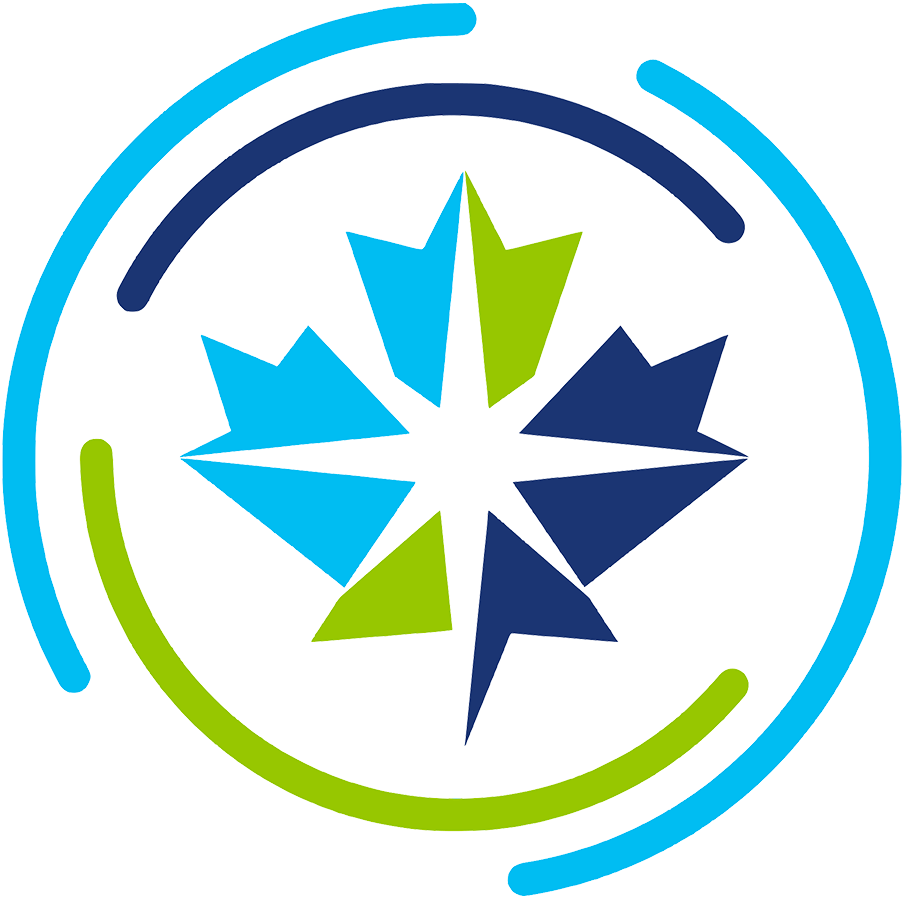 Canadian Premier League Logo Primary Logo (2019-Pres) - A double blue and green maple leaf with a white star in the middle inside a soccer ball SportsLogos.Net