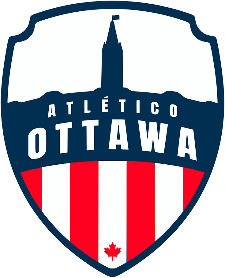 Atletico Ottawa Logo Primary Logo (2020-Pres) - A silhouette of the Canadian parliament building including the peace tower within a blue shield with red and white stripes SportsLogos.Net
