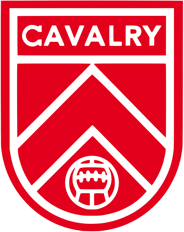 Cavalry FC Logo Primary Logo (2019-Pres) - A chevron within a red and white shield, CAVALRY written above in white SportsLogos.Net